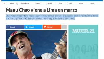Manu Chao viene a Lima en marzo