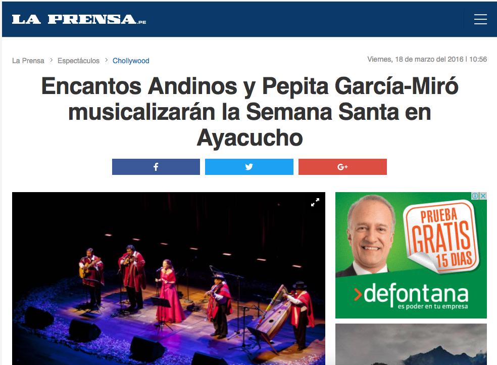 Encantos Andinos y Pepita García-Miró musicalizarán la Semana Santa en Ayacucho