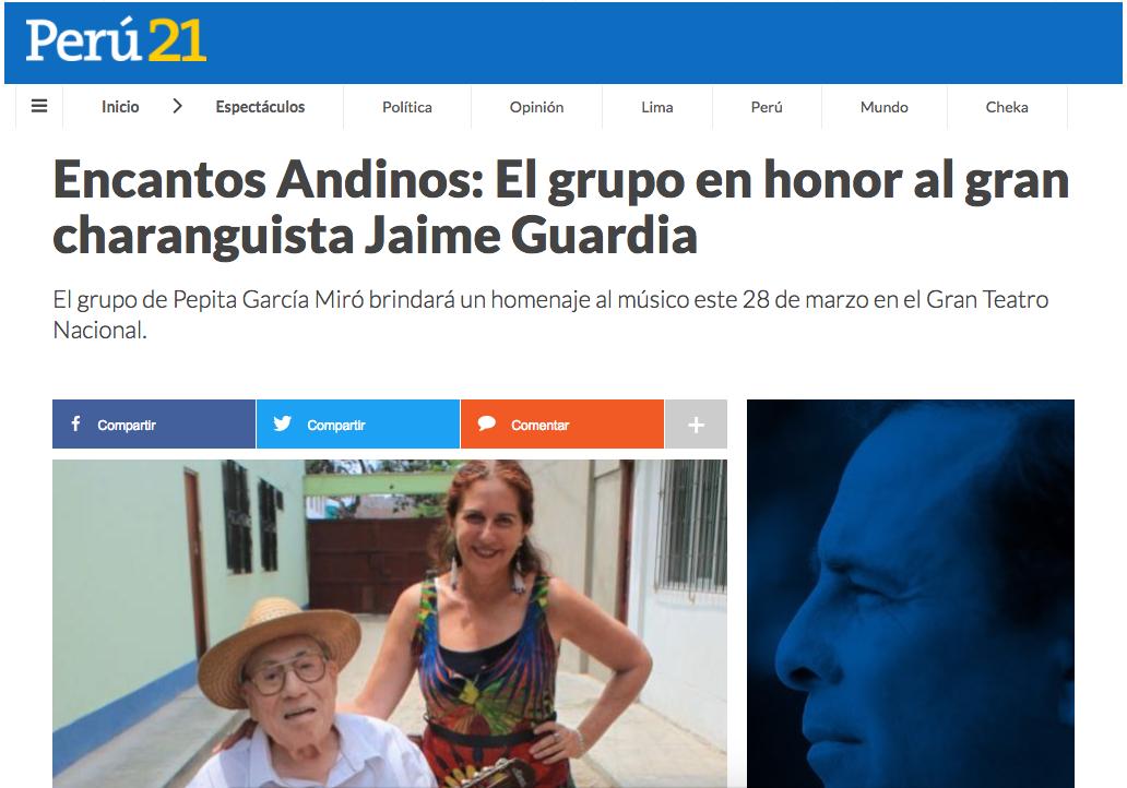Encantos Andinos: El grupo en honor al gran charanguista Jaime Guardia