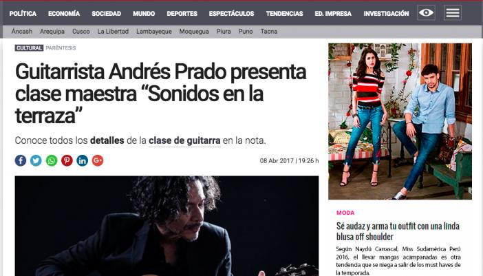 """Guitarrista Andrés Prado presenta clase maestra """"Sonidos en la terraza"""""""