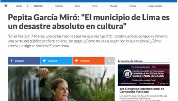 """Pepita García Miró: """"El municipio de Lima es un desastre absoluto en cultura"""""""