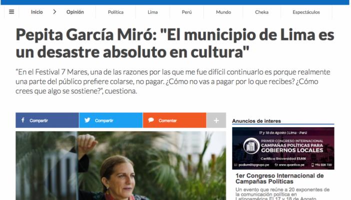 Pepita García Miró: «El municipio de Lima es un desastre absoluto en cultura»